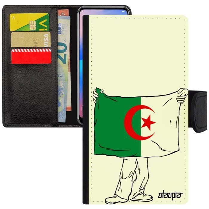 Coque iPhone 7 porte cartes drapeau algerie algerien 4G magnetique foot CAN football design coupe du monde Apple