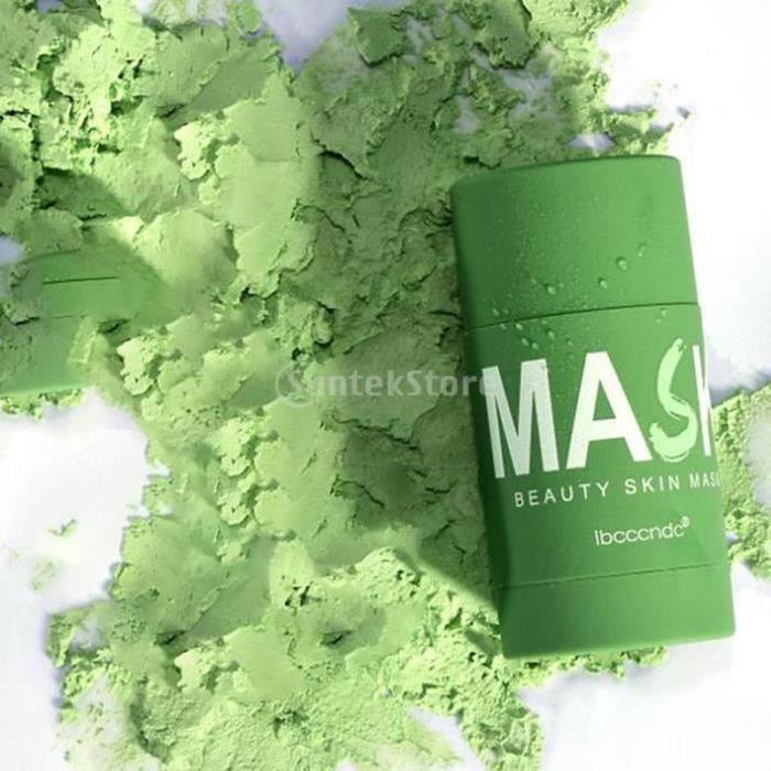 QQ05288-Masque Facial Masque purifiant au Thé Vert pour Contrôler de Huile Anti-acné Aubergine Fine Solide 40g