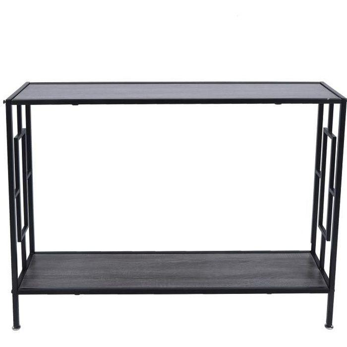 PET Table de console à 2 niveaux avec cadre en fer pour maison, salon, entrée, décoration, meubles 106cm*23cm*75.5cm