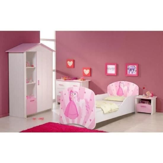 lit enfant princesse et son cheval sommier matelas 140x70 cm achat vente lit complet. Black Bedroom Furniture Sets. Home Design Ideas