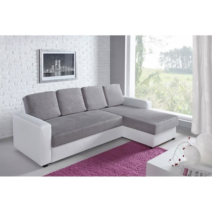 canap d 39 angle r versible convertible bi mati re blanc et gris zoe achat vente canap sofa. Black Bedroom Furniture Sets. Home Design Ideas