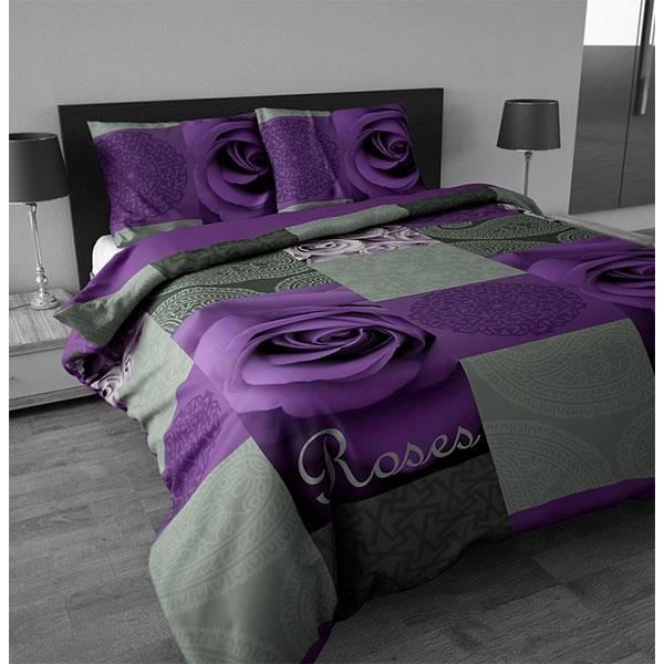 housse de couette roses purple 240x200 220 cm achat vente housse de couette cdiscount. Black Bedroom Furniture Sets. Home Design Ideas