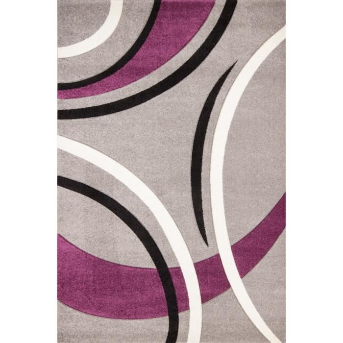 havanna tapis de salon 120x170 cm violet gris et noir. Black Bedroom Furniture Sets. Home Design Ideas