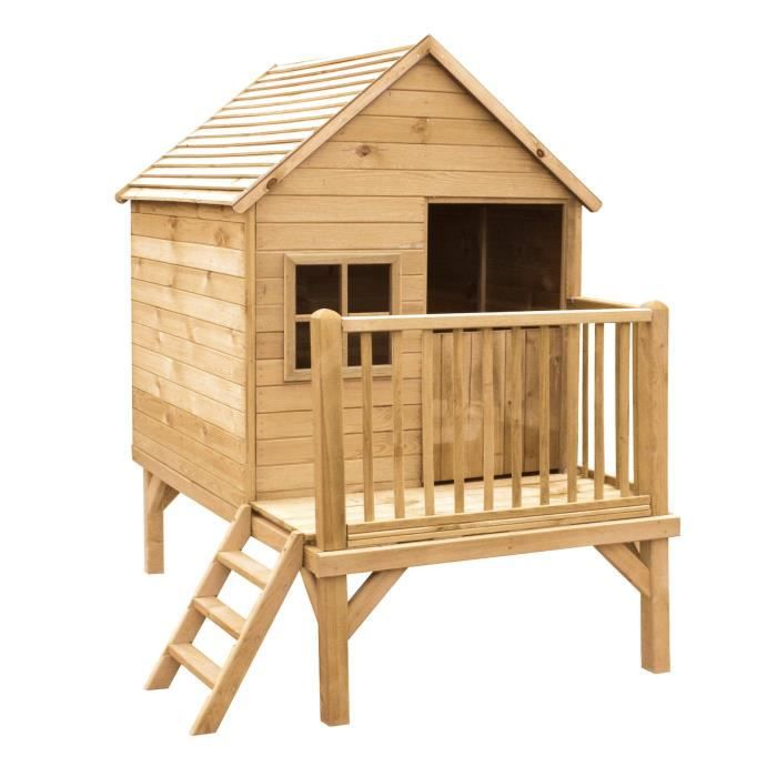 cabane enfant en bois peindre winny 190x120x200 cm achat vente maisonnette ext rieure. Black Bedroom Furniture Sets. Home Design Ideas
