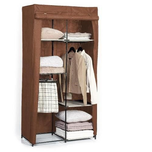 armoire 3 etageres et penderie marron achat vente. Black Bedroom Furniture Sets. Home Design Ideas