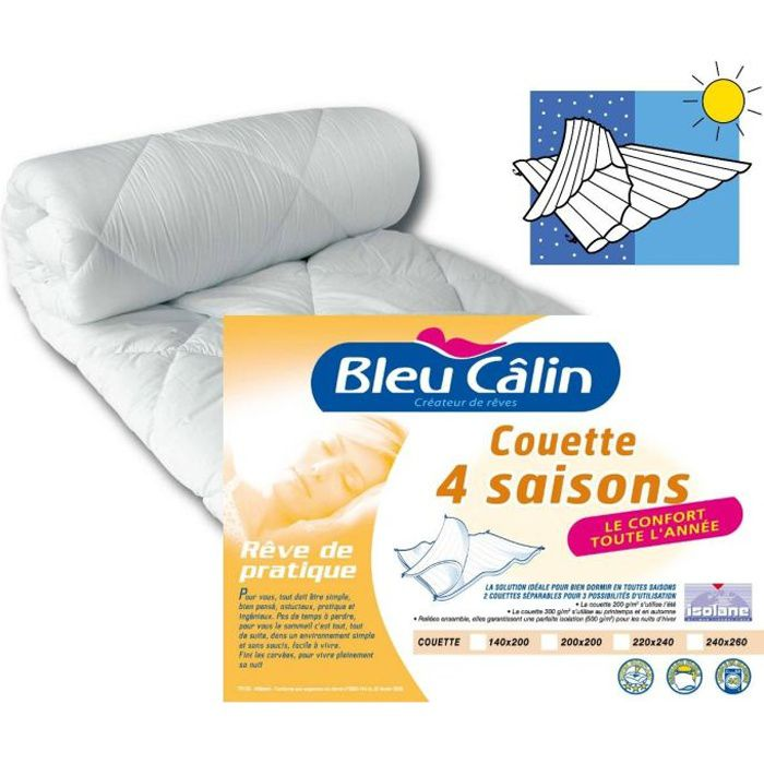 bleu calin couette microfibre 4 saisons 220x240cm achat vente couette cdiscount. Black Bedroom Furniture Sets. Home Design Ideas