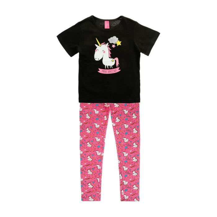 pyjama imprim licorne noir noir achat vente chemise de nuit cdiscount. Black Bedroom Furniture Sets. Home Design Ideas