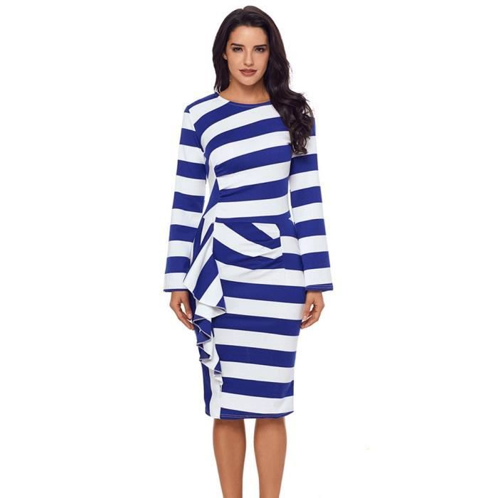b3742705a5b Robes Rayures Femme à Volants Manches Longues Robe Col Rond Avec Zip ...