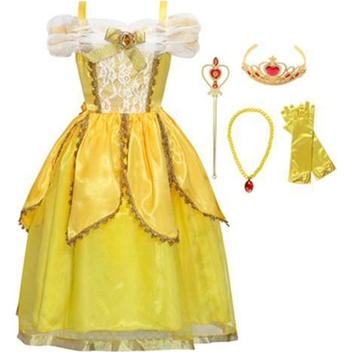 BBSMYA Robe de Princesse Femme Jaune D/éguisement Adulte Costume Cosplay Belle /épaule Nu avec Gants Robe de Soir/ée F/ête No/ël