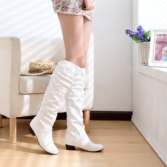 Blanc Tube Femmes D'équitation Bottes Talons Plates Les De Genou D'hiver Haut XiuOPkZ