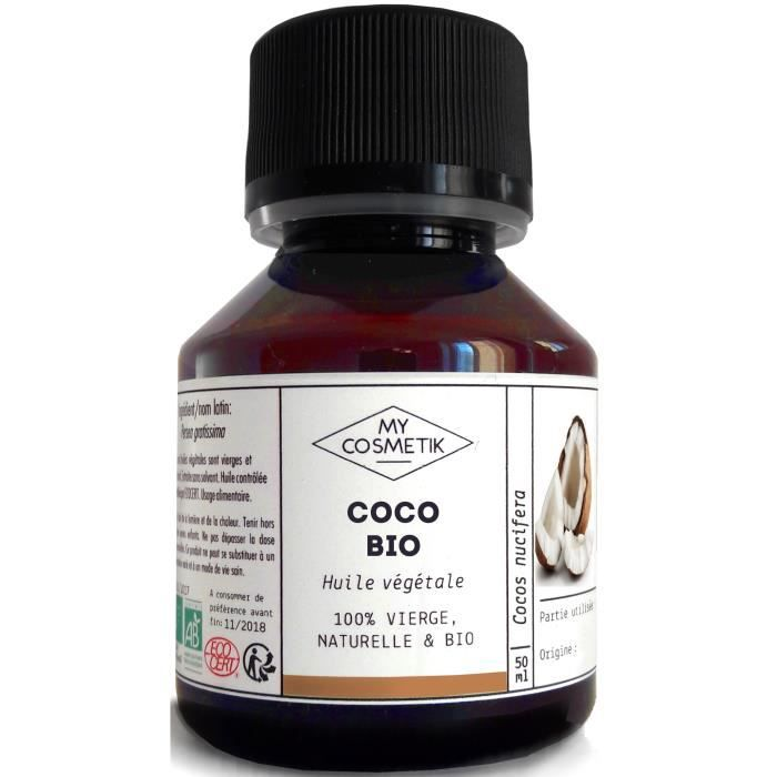 huile de coco bio 50 ml achat vente hydratant corps huile coco bio 50 ml soldes. Black Bedroom Furniture Sets. Home Design Ideas