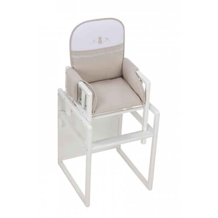 habillage de chaise haute blanc et beige lapin achat vente chaise haute 2009819931879. Black Bedroom Furniture Sets. Home Design Ideas