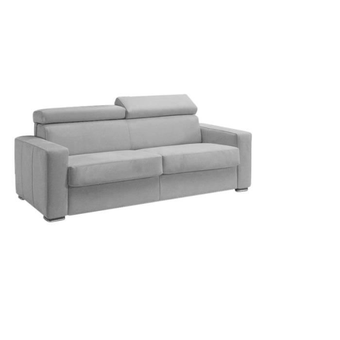 canap convertible omega microfibre gris clair 140 achat vente canap sofa divan. Black Bedroom Furniture Sets. Home Design Ideas