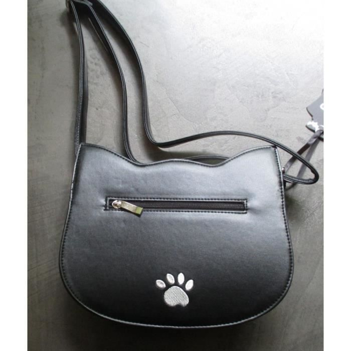 SAC A MAIN SIMILI NOIR TETE DE CHAT BLANC IDEAL PIN UP ROCKABILLY STYLE 50 S BANNED