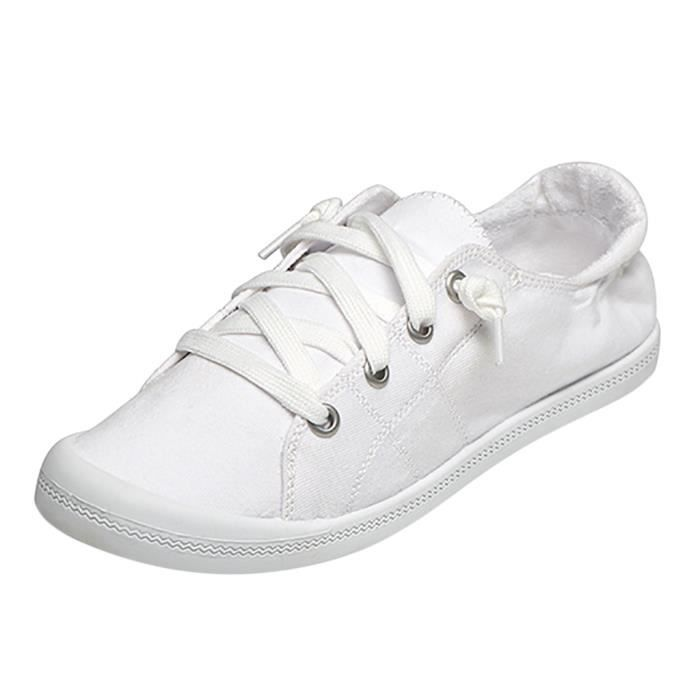 Confortable Slip On Sneaker chaussures Flats respirante toile Chaussures Baskets femme blanc
