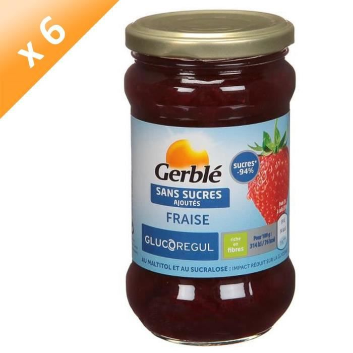 [LOT DE 6] GERBLE Confiture de fraise sans sucres ajoutés - 320 g