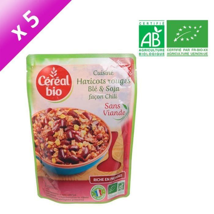 [LOT DE 5] CEREAL BIO Haricots rouges cuisinés au blé et soja façon Chili Bio - 220 g