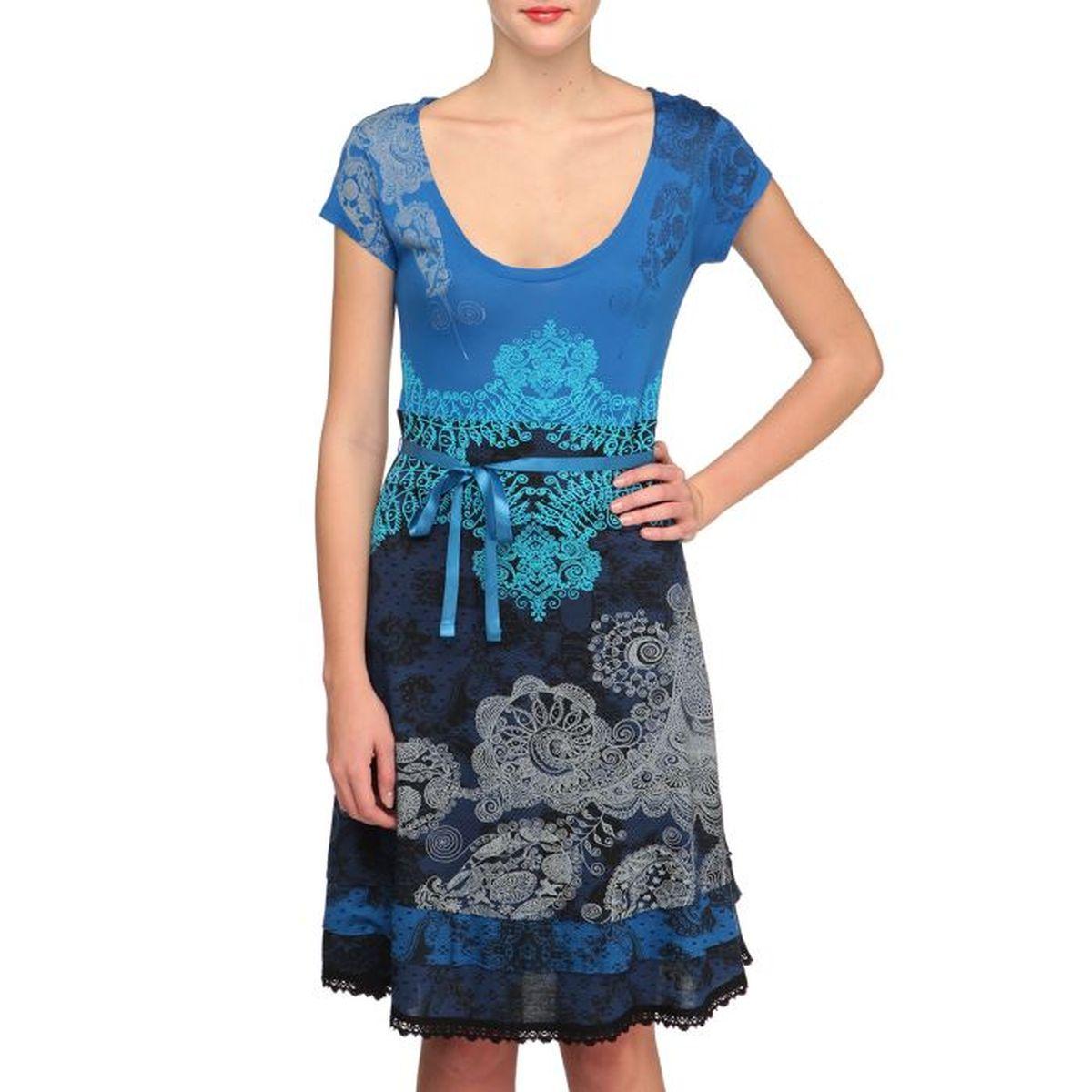 Desigual Robe Paris Femme Bleu Achat Vente Robe Cdiscount