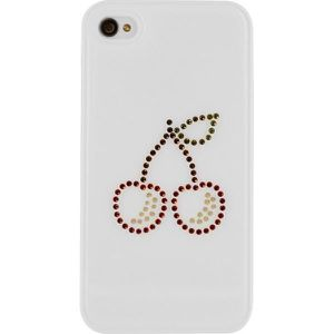 SWAROVSKI Coque rigide Iphone 4 / 4S Motif Cerise - Rouge