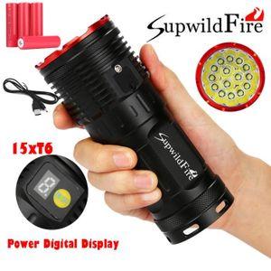 LAMPE DE POCHE Supwildfire 50000LM 15 x XM-L T6 LED Puissance Aff