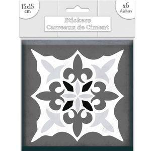 STICKERS 6 stickers carreaux de ciment nuances de gris 15 x