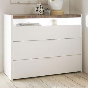 COMMODE DE CHAMBRE Commode lumineuse blanche et couleur bois DEBORAH