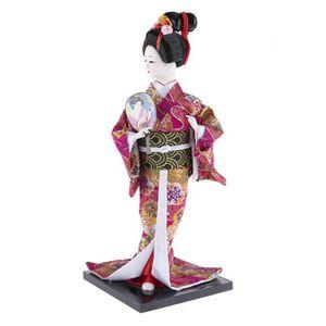 STATUE - STATUETTE Poupee Asiatique Traditionnelle - Kimono Fuschia