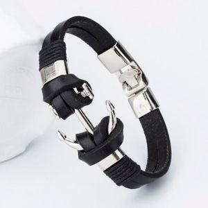 BRACELET - GOURMETTE Bracelet Homme Cuir Ancre Marin