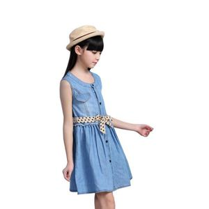 414f85cce9acb ROBE Robe en Jean Fille Denim Sans manches Robe Enfant