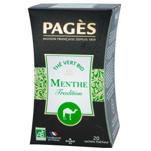 THÉ Pages Thé Vert Menthe Tradition Bio 20 sachets (lo