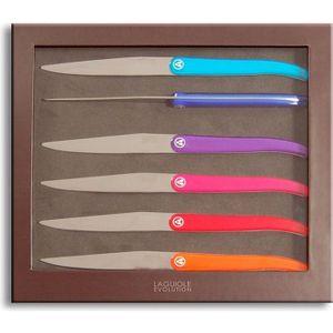 COUTEAU DE TABLE LAGUIOLE Coffret 6 Couteaux ACIDULE - Multicolor