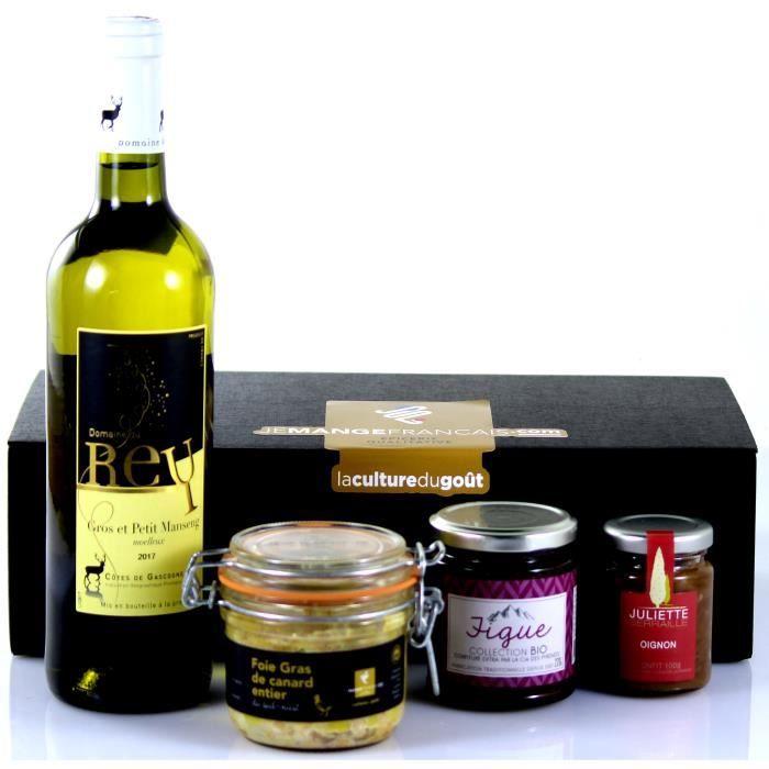 Panier garni d'excellents Produits Régionaux dont 1 Foie Gras entier - Présentation soignée dans une élégante boite noire