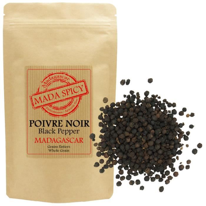 Poivre Noir Lourd de Madagascar 500 gr en sachet éco alimentaire avec zip.
