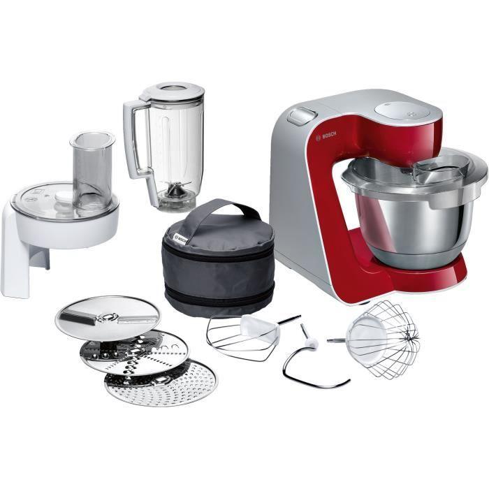 BOSCH Kitchen machine MUM5 - Robot de cuisine -1000W-7 vitesses+pulse- Bol mélangeur inox 3,9L- Blender 1,25 L - Rouge foncé/silver