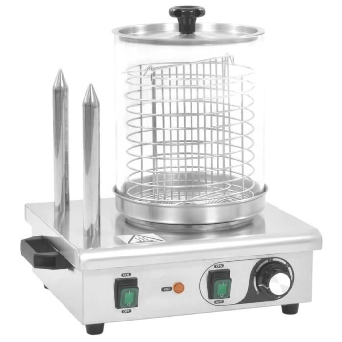 HMF© Appareil à hot-dog Machine À Hot Dog Décor - avec 2 tiges Acier inoxydable 500 W ♕74408