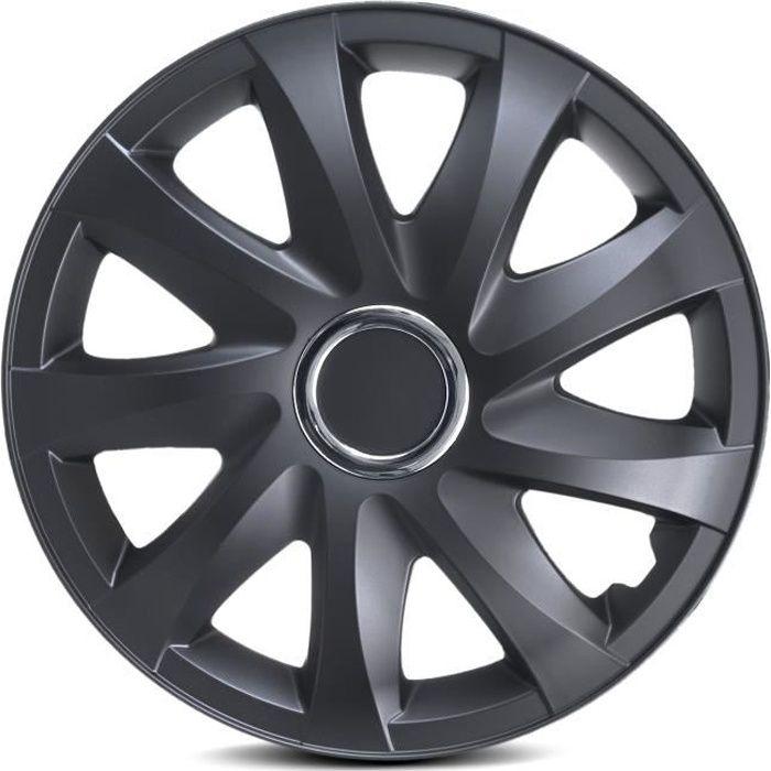 Enjoliveurs de roues Drift noir mat 15 - lot de 4 pièces
