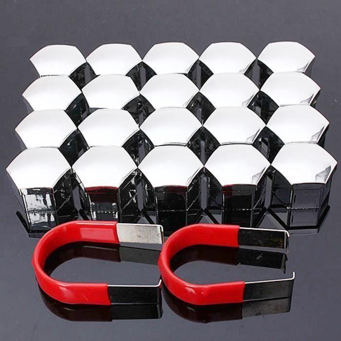 NEUFU 20Pcs 17mm Cache Écrou Bouchon Boulon Enjoliveur Roue Plastique Hexagone Auto Chrome L69178