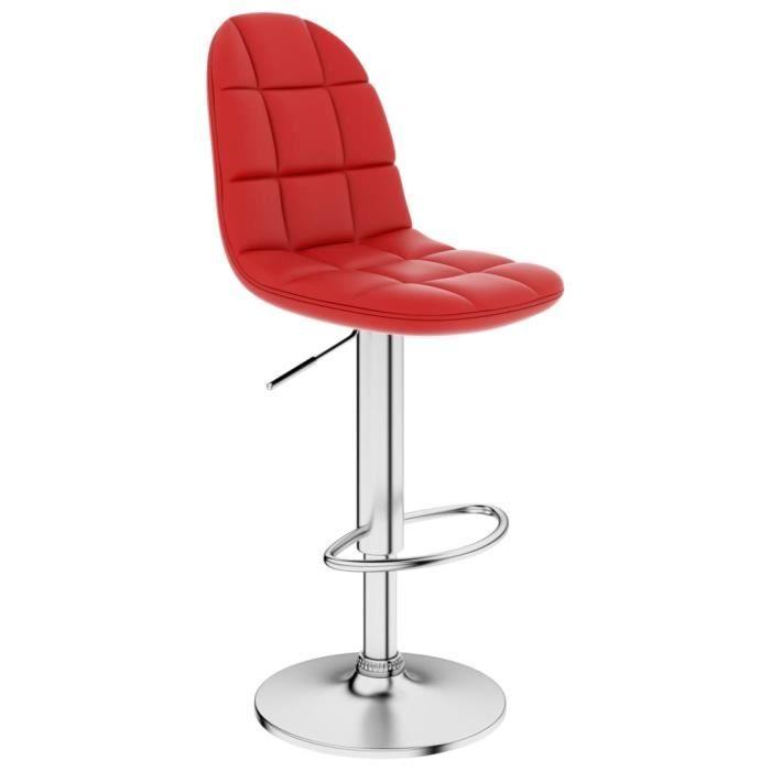 Tabouret de bar Pivotant Rouge Similicuir 360 degrés - Hauteur Réglable 91-112cm - Design Ergonomique - Style Contemporain