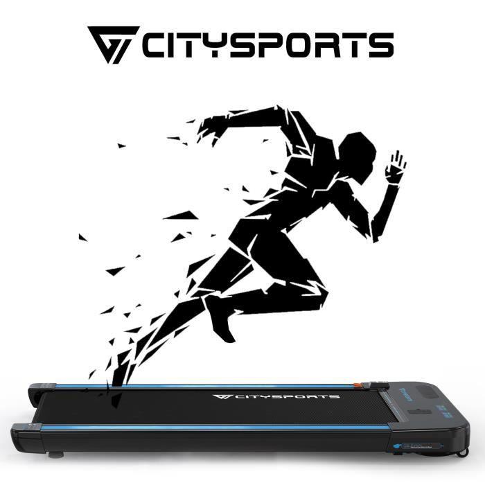 CITYSPORTS Tapis de Course Electrique Moteur 440W, Bluetooth Haut-parleurs Intégré, Vitesse Réglable, Ultra Fin et Silencieux WP2