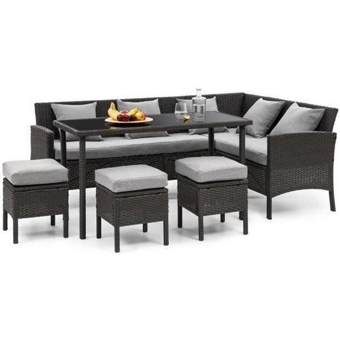 Blumfeldt Titania Lounge Salon de jardin 7 places résine tréssée - table à manger , canapé & 3 poufs - polyrotin noir & gris clair
