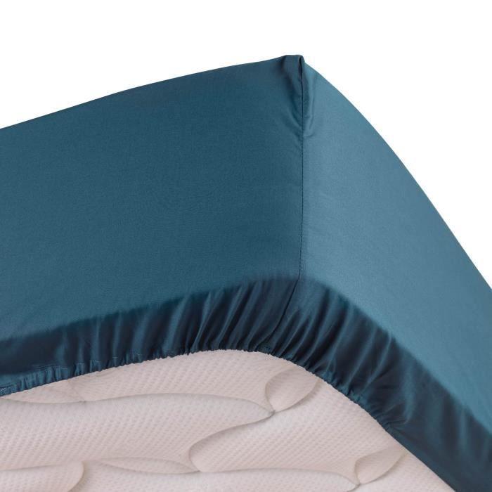 Drap housse bleu 90 x 190 cm en percale Bonnet de 30 cm
