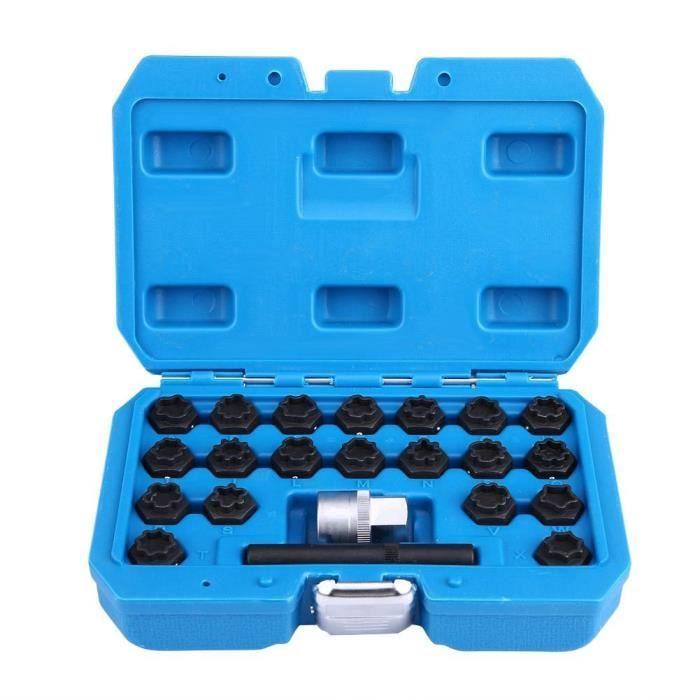 ESTINK jeu de clés d'écrou de blocage de roue 22 pièces en acier allié anti-vol manchon de vis de verrouillage écrou de roue
