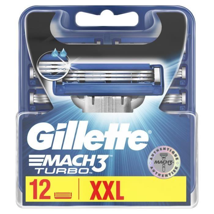GILLETTE Mach3 turbo 12 Lame de rasoir vendu seule