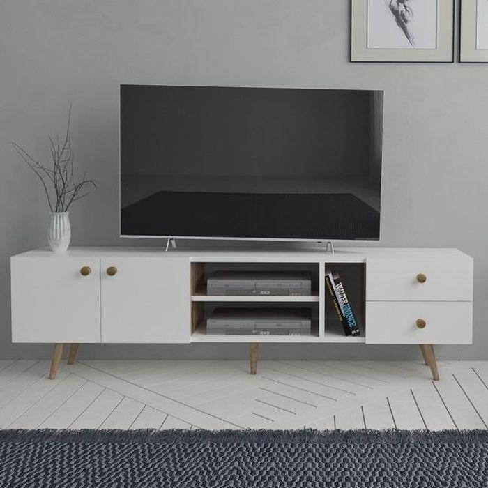 HOMEMANIA Sedef Meuble TV Moderne - avec portes, étagères - par Salotto -Blanc, Chêne en Bois, 160 x 30 x 45 cm