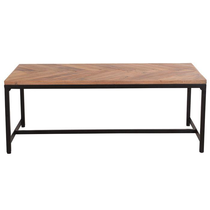 Miliboo - Table basse moderne en acacia et métal noir STICK