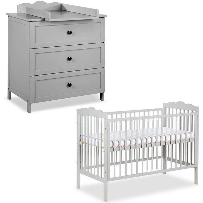 RADEK III Chambre bébé commode à langer et lit en bois Gris 120x60 cm