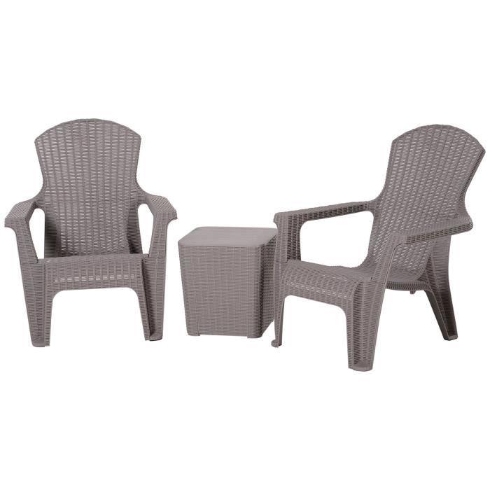 Salon de jardin 2 pers. 3 pièces - ensemble bistrot style néo-rétro - 2 fauteuils lounge + table basse coffre - plastique PP gris