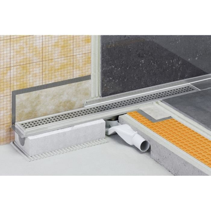 Caniveau pour douche à l italienne sortie horizontale KERDI-LINE-F - Kit de caniveau en acier inox longueur 80cm hauteur 40cm