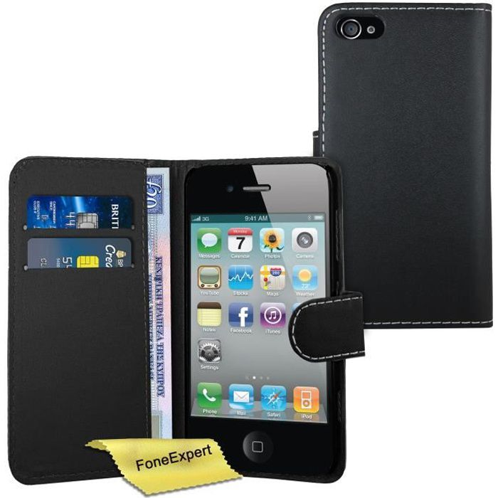 Noir apple iphone 4 4s etui housse coque en cuir for Etui housse iphone 4