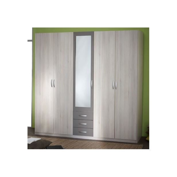 armoire 4 1 portes 3 tiroirs 1 mirroir alabama achat vente penderie souple armoire 4 1. Black Bedroom Furniture Sets. Home Design Ideas